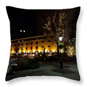 Night View Of St Katherines Dock London Throw Pillow
