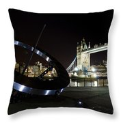 Night View Of The Thames Riverbank Throw Pillow