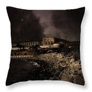 Nightfall Over Hard Time - San Quentin California State Prison - 5d18454 - Partial Sepia Throw Pillow