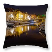 Nighttime Along The River Leie Throw Pillow