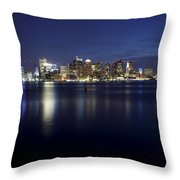Nighttime Boston Skyline Throw Pillow