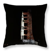 Nighttime View Of The Apollo 13 Space Throw Pillow