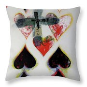 Nine Of Hearts 21-52 Throw Pillow by Cliff Spohn