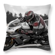 Ninja On The Track Throw Pillow