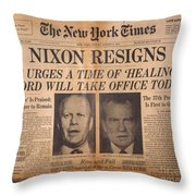 Nixon Resigns: Newspaper Throw Pillow