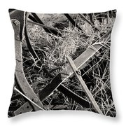 No More Plowing Throw Pillow by Ron Cline