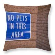 No Pet Sign At Rest Stop Throw Pillow
