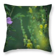 Nootka Rose And Yellow Toadflax Throw Pillow