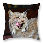 North American Lynx Throw Pillow