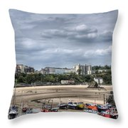 North Beach From Tenby Harbour Throw Pillow