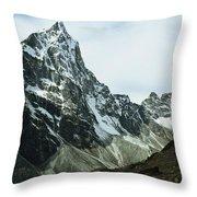 North Face Of Cholatse Peak Towers Throw Pillow