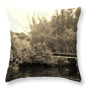 North Fork River In Sepia Throw Pillow