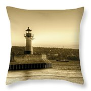 North Pier Lighthouse Throw Pillow