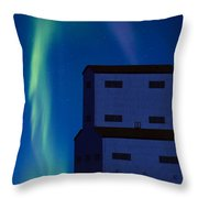 Northern Lights And Grain Elevator 2 Throw Pillow