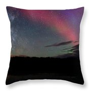 Northern Lights And The Milky Way Throw Pillow