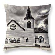 Norwegian Church Cardiff Bay Cream Throw Pillow