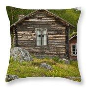 Norwegian Timber House Throw Pillow