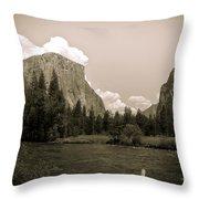 Nostalgic Yosemite Valley Throw Pillow