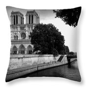 Notre Dame Along The Seine Throw Pillow
