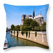 Notre Dame Cathedral Along The Seine River Throw Pillow