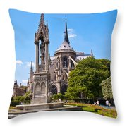 Notre Dame Cathedral Backside Throw Pillow