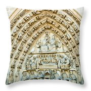 Notre Dame Cathedral Center Entry Throw Pillow