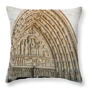 Notre Dame Cathedral Right Entry Door Throw Pillow
