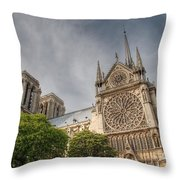 Notre Dame De Paris Throw Pillow by Jennifer Ancker