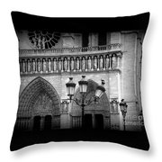 Notre Dame With Luminaires Throw Pillow