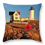 Nubble Light Sunset Throw Pillow by Catherine Reusch Daley