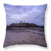 Nubble Lighthouse At Dusk Maine Usa Throw Pillow