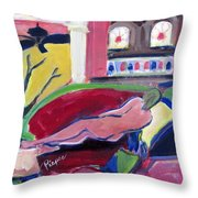 Nude With Fan In Foyer Throw Pillow