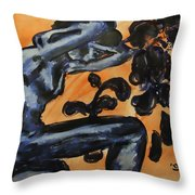 Nude Young Female Seated With Ideas Swirling About Her Head While Crying Throw Pillow