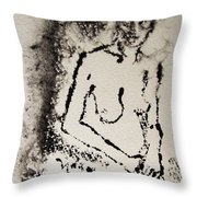 Nude Young Female That Is Mysterious In A Whispy Atmospheric Hand Wringing Pose Monoprint Intaglio Throw Pillow