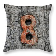 Number 8 And The Peeling Paint Throw Pillow