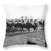 Ny Police Fencing On Horseback Throw Pillow