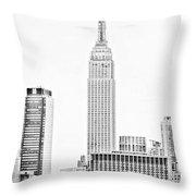 Ny Skyline - Black And White Throw Pillow