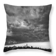 Ny Skyline Approaching Storm Throw Pillow
