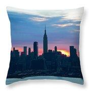 Ny Skyline Blue Dawn Throw Pillow