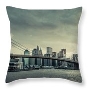 Nyc Skyline In The Sunset V2 Throw Pillow