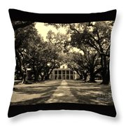 Oak Alley In Black And White Throw Pillow