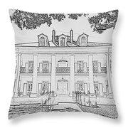 Oak Alley Sketch Throw Pillow