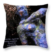 Oak And Nectar Exhibition Poster Black Throw Pillow