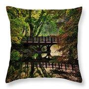 Oak Bridge In Fall Throw Pillow