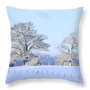 Oak In Snow Throw Pillow