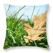Oak Leaf In The Grass Throw Pillow