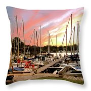 Oak Pt Harbor At Sunset Throw Pillow