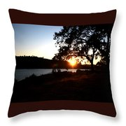 Oak Tree Sunset Throw Pillow