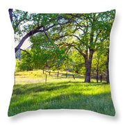 Oak Trees In The Spring Throw Pillow