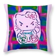 Occupy Kitty Throw Pillow
